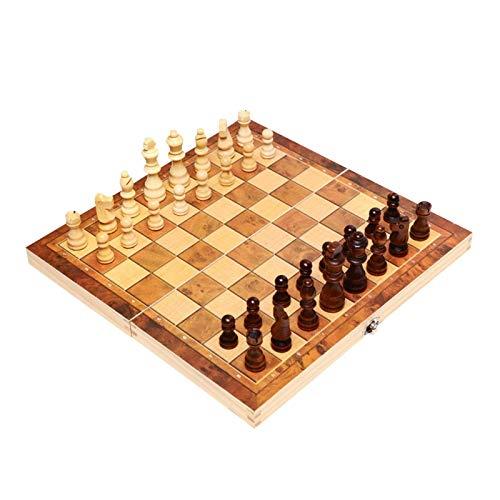 JIANGAA Juego de ajedrez de Madera Lady Backgammon Set Bolsa de Transporte Plegable con cómodas Figuras de ajedrez para Actividades Familiares y al Aire Libre (Color : 39 Cm)