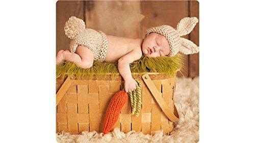 Matissa Baby Kleinkind Neugeborenen Hand gestrickt häkeln Strickmütze Hut Kostüm Baby Fotografie Requisiten Props (Karotten-liebevolles Häschen)