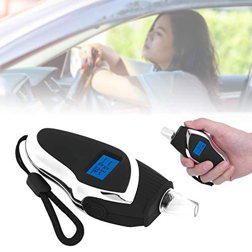 BOTEGRA Probador de respiración Profesional, probador de conducción en Estado de ebriedad 108x50x30mm Alcoholímetro de Material plástico ABS Negro y Plateado para reuniones Familiares y reuniones