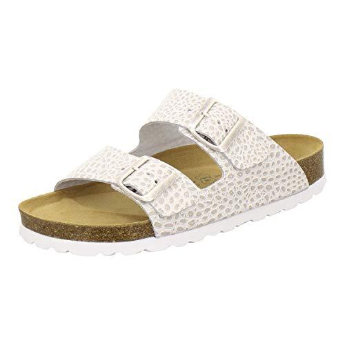AFS-Schuhe 2100, Bequeme Damen Pantoletten echt Leder, praktische Arbeitsschuhe, Hausschuhe, Handmade in Germany (40 EU, Beige/Crocco)