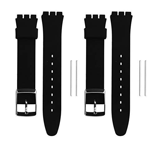 Pulsera de silicona de 17 mm + 19 mm, pulsera de repuesto de alta calidad con cierre de metal ajustable para mujeres y hombres, pulsera de repuesto de 2 partes para deportes y ocio