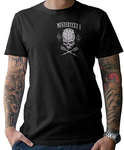 NG articlezz Hombre Dardos Calavera Camiseta – Personalizable con Texto Deseado S-XXXXXL con Frontal y Estampado en la Espalda - Negro/Negro, XXL