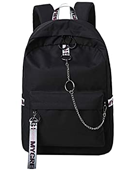 El-fmly Fashion Water Resistant Backpack for Travel Lightweight School Bookbags with Cool Letters Strap for Teenage Boys & Girls  Black+Grey