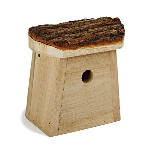 NEST TO NEST Natur Nistkasten I Vogelhaus Eichen Holz und Rinde I Nistkästen für Starling, Mauersegler, kleinerer Buntspecht, großer Buntspecht I Brutkasten für vögel I Eingangsloch 5 cm