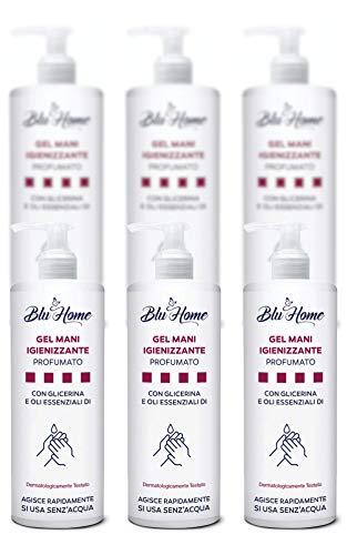Blu Home GEL MANI IGIENIZZANTE 70% ALCOOL con Oli Essenziali di Limone, Tea Tree e Glicerina Vegetale (500ml - 6 pezzi)