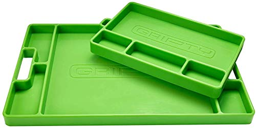Gripty (Duo-Pack) | PREMIUM Silicone Tool Tray | Flexible | Multi Purpose Mat | Portable Tool Box Organizer | No Magnets | Easy Clean Up | (ORIGINAL Green)