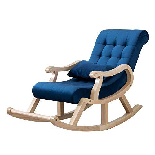 Silla mecedora al aire libre Interiores Patio mecedora clásico Salón Sillón tapizado almohada lumbar retro tumbonas Porches Patio Rocker asientos 4 Color ( Color : Blue , Size : 125x67x89cm )