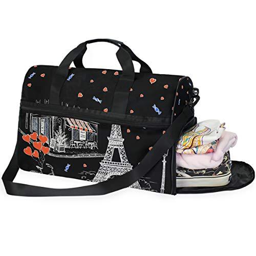 DOSHINE Borsone da Viaggio Parigi Torre Eiffel San Valentino Love Heart Duffels Sport Palestra Borsa Grande capacità Bagaglio per Uomo Donna
