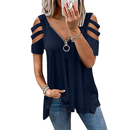 Springcmy Camisetas de manga corta con cuello en V y tiras para mujer