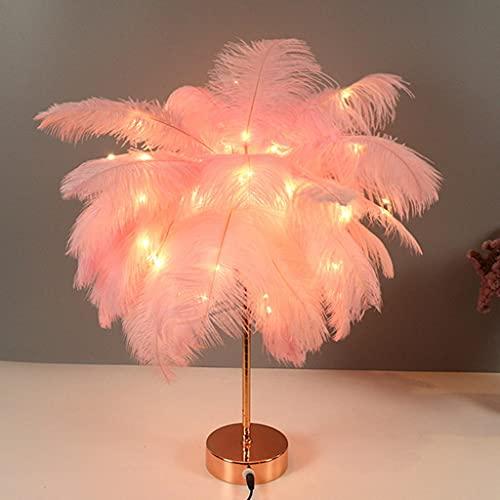 JDKC- Luz de Noche de Decoración de Pelo de Avestruz, USB y Alimentación por Batería, Lámpara de Mesa Feather con Mando a Distancia, Luz del Escritorio de la Cabecera (Color : Pink)