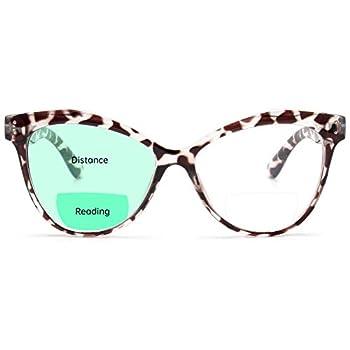 Livho Cat Eye Bifocal Blue Light Blocking Reading Glasses for Women Men Computer Readers Eye Strain Headache  Leopard 1.5