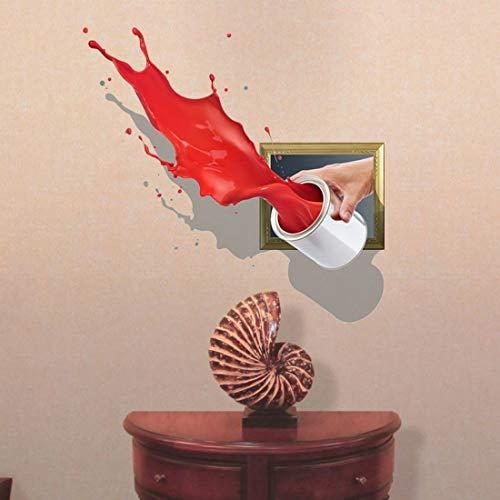 WEIHONG Stickers muraux Stickers muraux amovibles en peinture rouge 3D Splash, taille: 60.6 x 58 x 0.3 cm WEIHONG