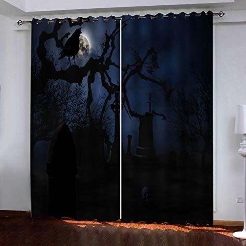 Blickdicht verdunklungsvorhänge mit Ösens,100% Polyester , Ein Satz von 2, Pro Stück 140x210 cm (W x L) ,Moderner Gardinen mit 3D Friedhof Hintergrund - Geeignet für Wohnzimmer und Schlafzimmer