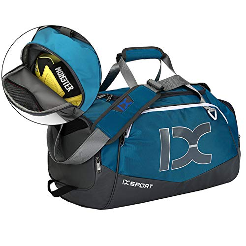 carinacoco Sporttasche Mit Schuhfach Gym Bag Wasserdicht Mit Nassfach Trainingstasche Groß Sporttaschen Sport Taschen Trocken Nass Trennung Schwimmtasche Fitnesstasche (Blau)