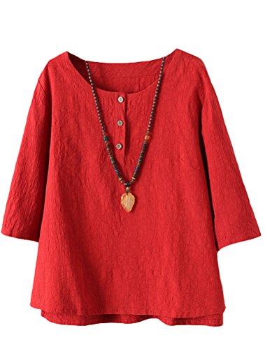 Vogstyle Damen Neue Baumwoll Leinen Tunika T-Shirt Jacquard Oberseiten, M, Rot