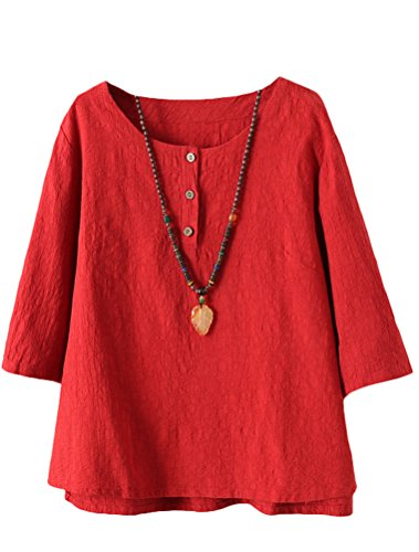 Vogstyle Damen Baumwoll Leinen Tunika T-Shirt Jacquard Oberseiten, Rot, XXL