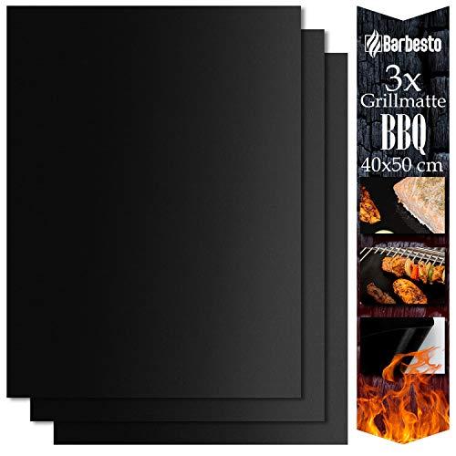 CLP Grillmatte BBQ I Für Gasgrill, Kohlegrill, Elektrogrill & Backofen, Größe:40x50 cm (3er Set)