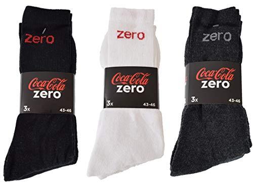 Coca-Cola 6|9|12|24 Paar Herren/Damen Sportsocken wahlweise in Schwarz, Weiß, Blau/Grau in 39-42 und 43-46 (43-46, 12 Paar Schwarz)