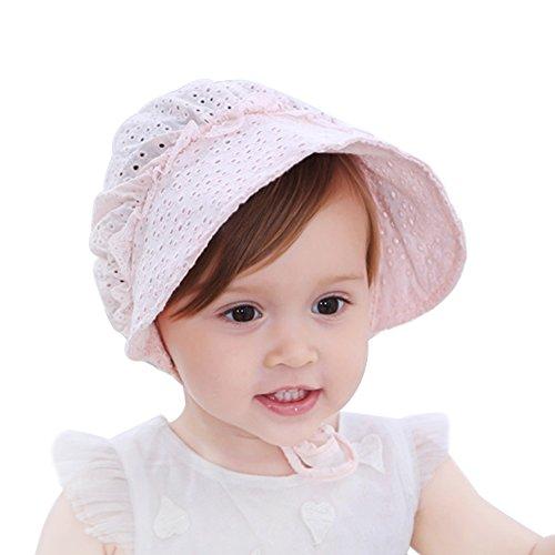 HBselect bébé fille Chapeau de soleil, Large Bord respirant bébé Bonnet Sweet Princess Style Fleur à œillets d'été Cap ,Rose,Taille unique