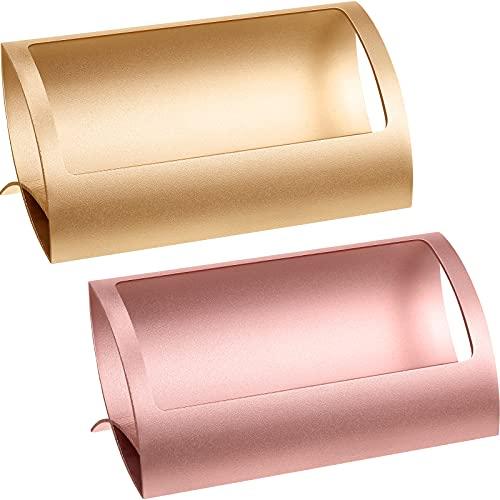 2 Soportes de Tarjetas de Visita de Metal Estante de Exhibición de Tarjeta de Aluminio Organizador Tarjetero de Escritorio de Tarjeta de Nombre Accesorio de Tarjeta de Mesa, Oro Rosa y Oro