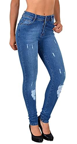 ESRA Damen Jeans Jeanshose Damen Skinny High Waist Hochbund Jeanshosen , 36 , Blau