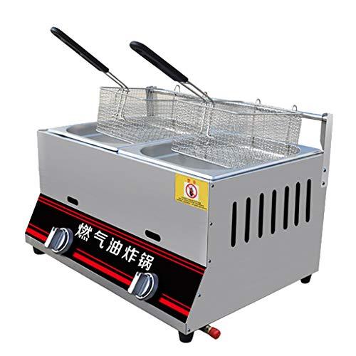 Freidora De Gas Comercial 6L / 12L Máquina De Torre De Patatas Freidora De Gas De Pollo Frito con Soporte Ajuste Manual De Temperatura