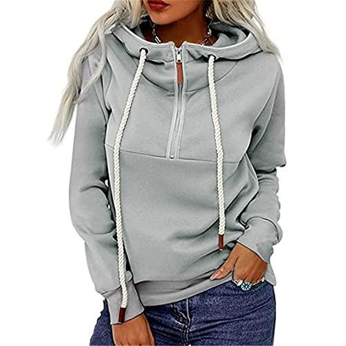 whitzard Sudadera con capucha para mujer con cremallera 1/4, informal, monocolor, manga larga, gris, XL