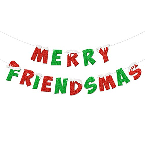 Christmas Banner Merry Friendsmas Glittering Banner for Friends-Themed Christmas Winter Holiday Party Garland Bunting Decorations Supplies NO DIY Required