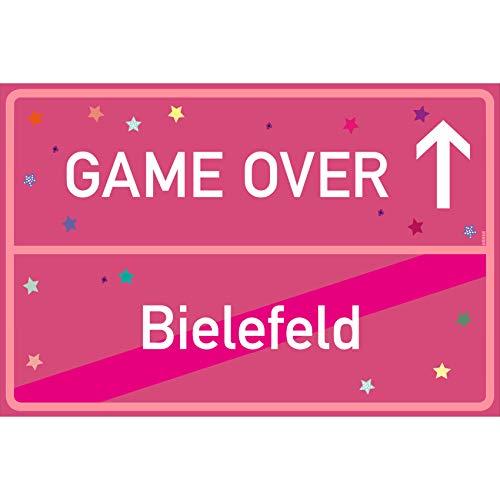 vanva Bielefeld Ortsschild Game Over Schild Bielefeld Game Over Rosa dunkel 300x200 - Lustige Geschenke oder Dekoration - Party Deko Geschenkideen