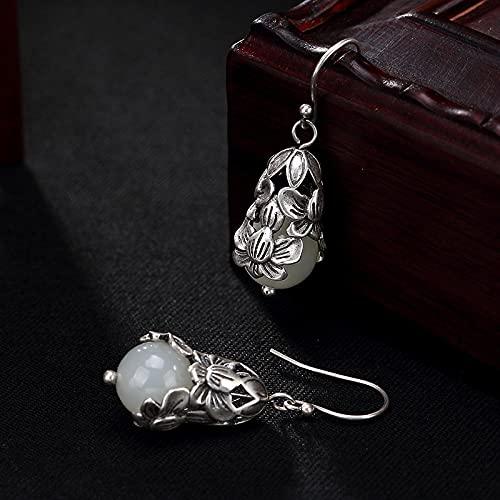 Damskie buty haftowane S925 Sterling Silver Retro Inlay i Tian Yu White Jade Round Pearl Lotus Damskie Kolczyki Jskdzfy (Color : A, Size : 925 silver)