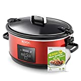 [NEW] KOOC Programmable Slow Cooker 7-Quart, Larger than 6 Quart, Digital Timer, Free Liners for Easy Clean, Portable with Lid Lock, Upgraded crock pot, Adjustable Temp, Nutrient Reduction, Red, Oval