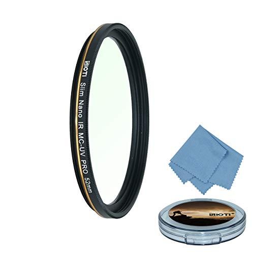 SIOTI Cámara Filtro UV de 52mm, Filtro de protección UV de 52mm, Filtro de Lente UV de 52mm, Filtro UV MC de 52mm para Sony, Canon Nikon, Fujifilm, Leica, Samsung, Pentax, Panasonic, Olympus