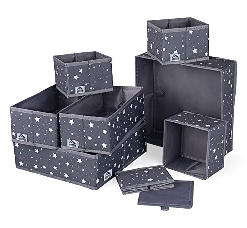 Anstore 8 Stück Aufbewahrungsbox Kleiderschrank Schubladen Organizer, Ordnungsbox für Unterwäsche BH Dessous Socken, Stoffbox Faltbox -Grau