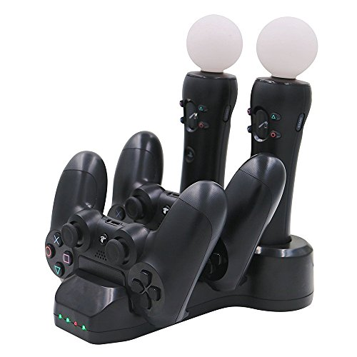 Commart Quad Controller Charger Dock Station Stand for PS4 Playstation VR PSVR Move Shipping From USA