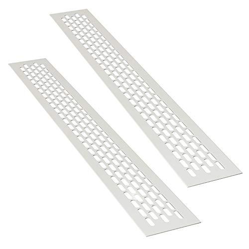 sossai® Aluminium Lüftungsgitter - Alucratis (2 Stück)   Rechteckig - Maße: 48 x 6 cm   Farbe: Weiss   Pulverbeschichtet