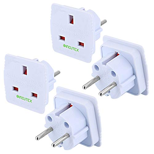 Incutex 2x UK zu EU Adapter Reiseadapter UK auf DE Reisestecker UK auf DE Netzadapter UK 3-Pin auf Euro 2-Pin, weiß