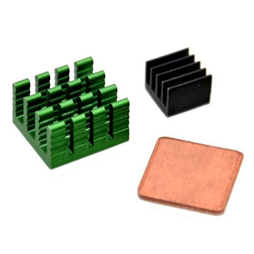 Juego de 3 disipadores de calor de aluminio con cobre para RPi 2 modelo B piezas electrónicas