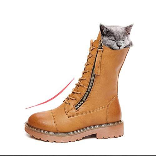 QHGao Dameslaarzen met vlakke bodem, winterwarme laarzen met katoenen voering, ergonomische haken, comfortabel en zacht, antislip rubberen zool, hoge slijtvastheid