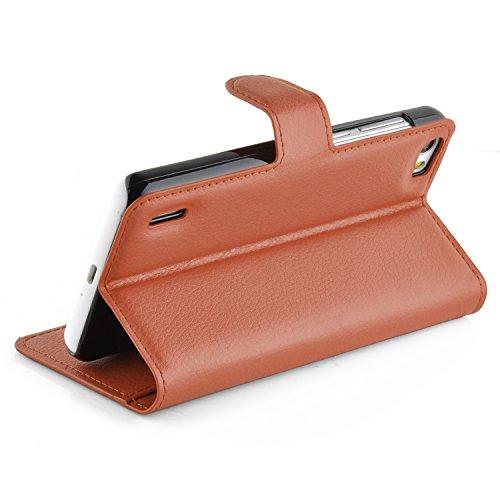 Cadorabo Hülle für Honor 6 - Hülle in Schoko BRAUN – Handyhülle mit Kartenfach und Standfunktion - Case Cover Schutzhülle Etui Tasche Book Klapp Style - 3