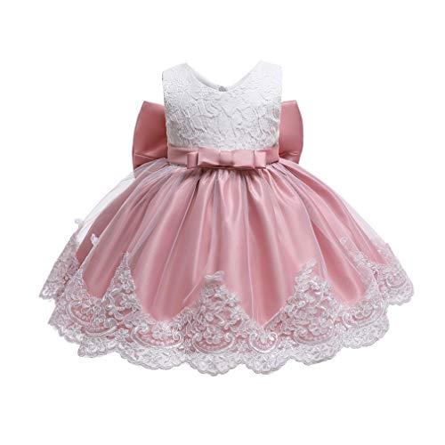 Gaga city Mädchen Bowknot Spitze Prinzessin Kleid Blumenmädchenkleid Taufkleid Festlich Kleid Hochzeit Geburtstag Partykleid Festzug Babybekleidung Outfits Pink A/18M