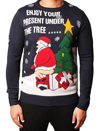 Maglione natalizio da uomo con elfo, Babbo Natale, pupazzo di neve Threadbare Imv-123 Deep Navy S