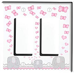 Pink Elephant Light Switch Plate and Outlet Covers/Elephant Nursery Decor with Grey and Pink Chevrons with Pink Hearts and Butterflies