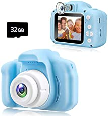 KAWELON Kids Camera, Toys for 3 4 5 6 7 8 Year Old Boys, Best Birthday Gifts for 4 5 6 7 8 Year Old Boys, boy Toys 4 5 6 7 Years Old, Dual Lens Digital Camera with 32GB SD Card-Blue
