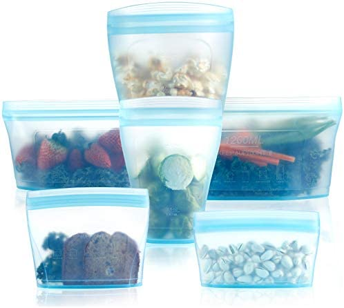 Reusable food container silicone bag Full Set 6 2Cups 2Dishes 2Bags Zip Containers Storage 100 product image