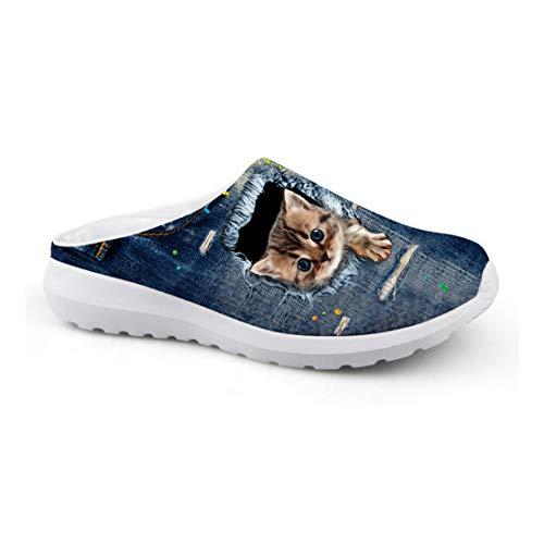Wrail Herrn Damen Clogs Pantoletten Hausschuhe Katzenmotiv Leicht Hausschuhe Freizeit Outdoor Schuhe Gartenscuhe rutschfest CA49 EU 39