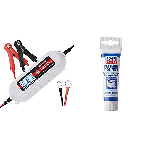 Dino KRAFTPAKET 136312 Batterieladegerät 6V/12V-4A mit Batterietester und Erhaltungsladung für KFZ PKW Auto Motorrad mit Komfortstecke, Ringösenkabel, Grau & LIQUI Moly 3140 Batterie-Pol-Fett, 50 g