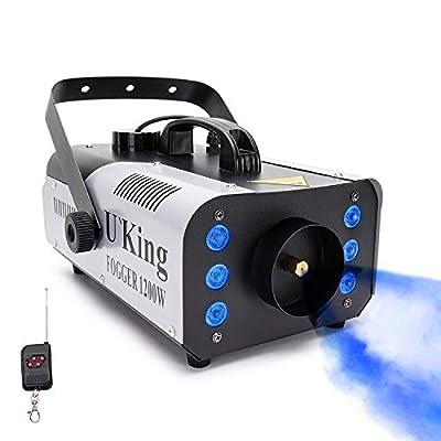 U`King Fog Machine 1200W 6 RGB LED Lights Outdoor Smoke Machine Wireless Remote Control DJ Disco Mist Machine for Halloween Christmas Wedding Party Disco Stage Effect