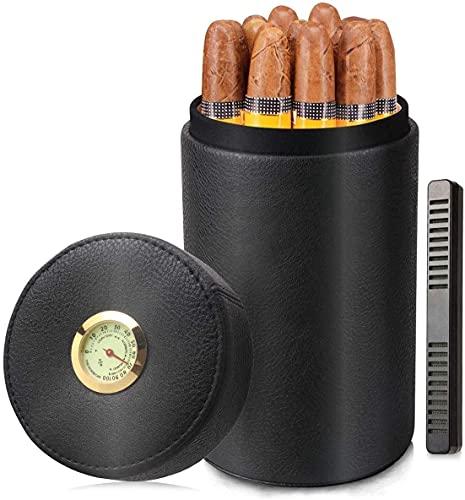 シガーヒュミドー、シガーハミドル瓶、革杉の木製の葉巻キャニスターポータブルシガーケース、プレミアムブラックレザーの葉巻避難箱