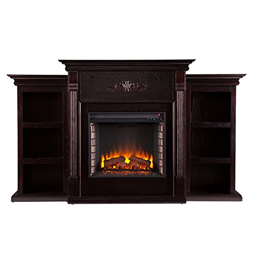 SEI Furniture Tennyson Electric Bookcases Fireplace, Espresso