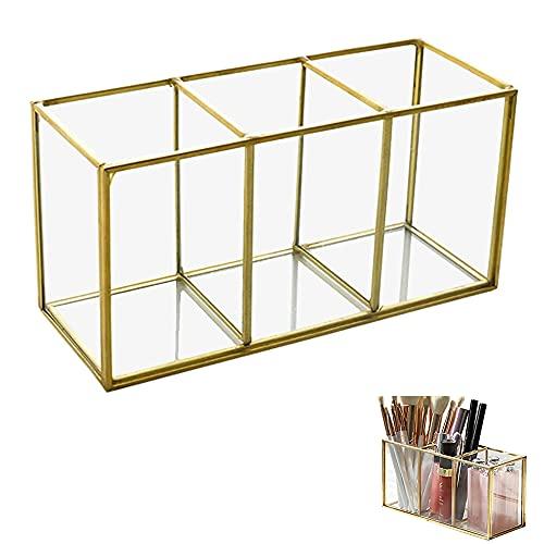 Organizador Maquillaje Vidrio, Caja Cosméticos Vidrio, Cosméticos Organizador Soporte Vidrio, Transparente Vidrio Maquillaje Caja, Vidrio Cosméticos Brochas, para Pinceles, Delineador de Ojos